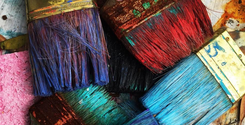 Coloured paintbrushes