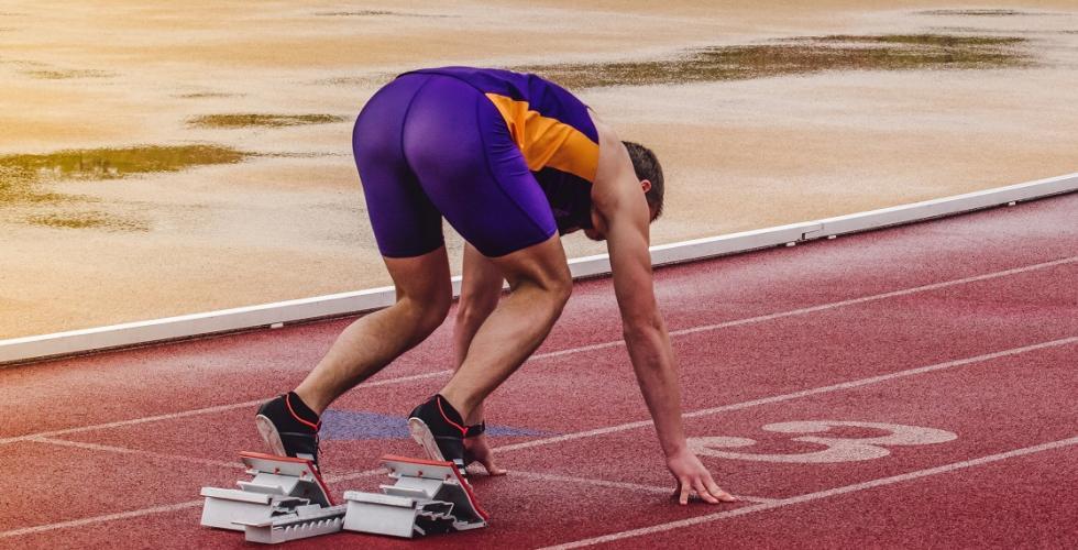 A runner on the starting blocks