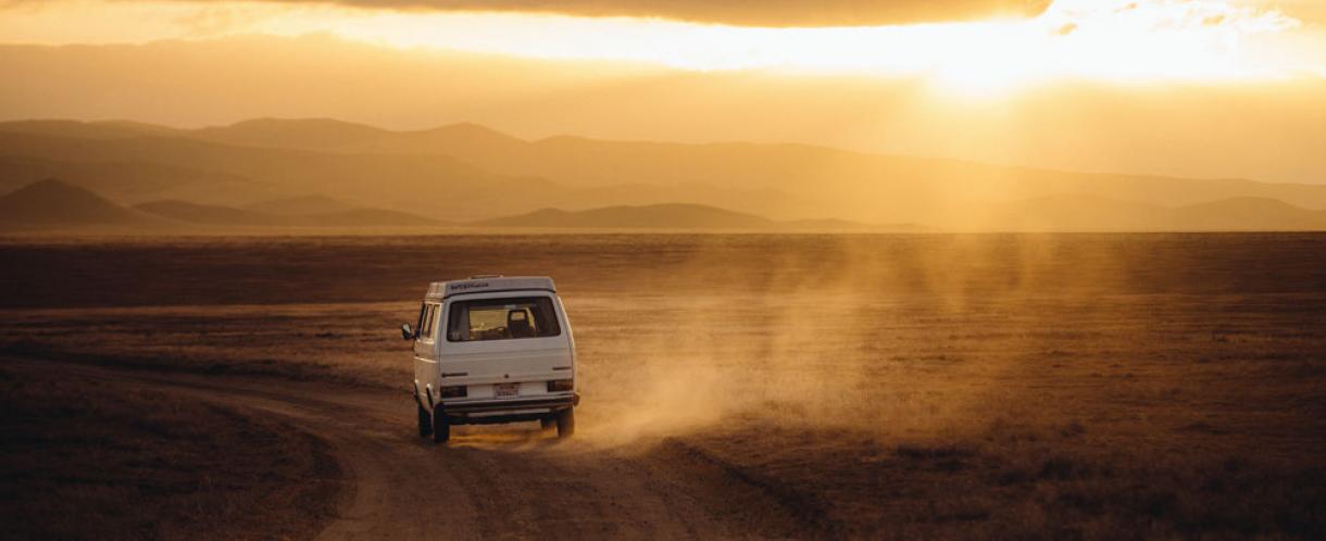 Camper van in the desert