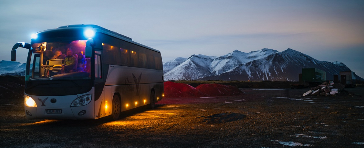 Bus and mountains