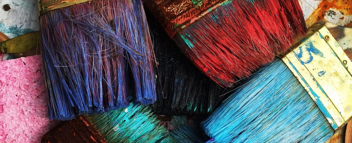 Coloured paintbrushes
